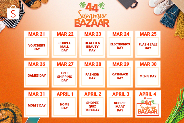 Shopee 44 summer bazaar calendar April 2019