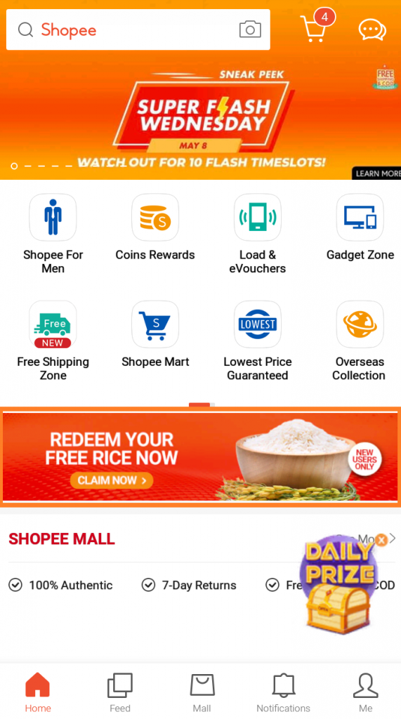 shopee homepage banner welcome package