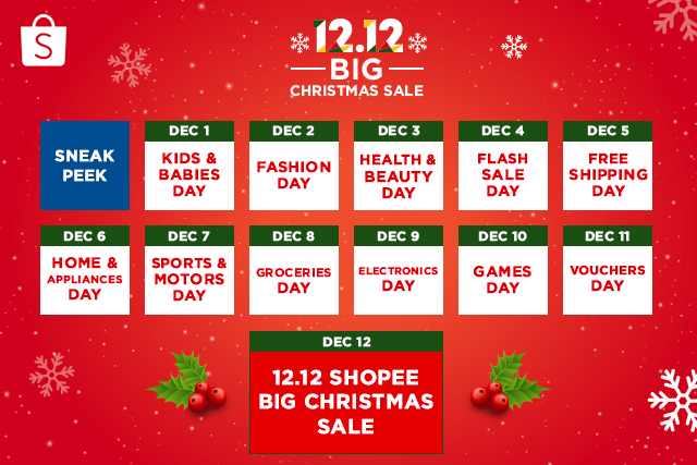 12.12 Big Christmas Sale Calendar